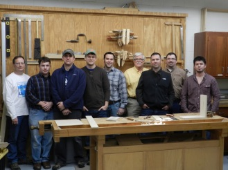 Fine Woodworking. Photo by Matt Kenney. L to R: Steve Branam, Nick Roulleau, Dyami Plotke, Mike Morton, Michael McCoy, Doug Plotke, Chris Adkins, me, and Freddie Ellis.