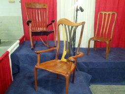 The sculpted chairs Andy has on display.