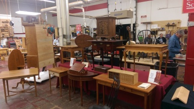 Some furniture on display at Connecticut Valley School of Woodworking.