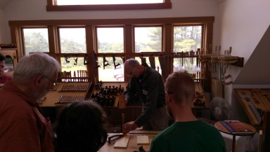 Christian Beckvoort demonstrates dovetails.