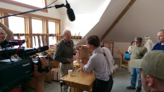 Two masters. Roy Underhill filming a short segment with Christian Becksvoort.